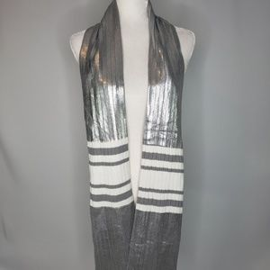 Juicy Couture Silver Metallic, Gray & White Scarf